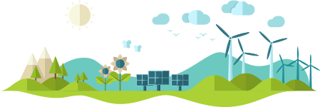 A hand-drawn panorama of green hills, mountains, grass, solar panels, and a wind farm.
