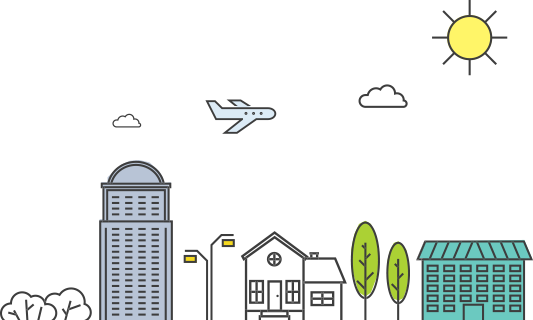 A hand-drawn cityscape, with a sun, buildings, trees, and a plane.